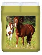 Two Horses In Summer Duvet Cover