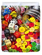 Two Jars Dice And Buttons Duvet Cover by Garry Gay