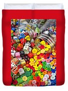 Two Jars Dice And Buttons Duvet Cover