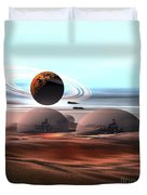 Two Jet Aircraft Fly Over Dome Duvet Cover