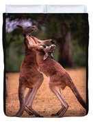 Two Kangaroos Appear To Be Dancing Duvet Cover