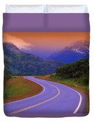 Two Lane Country Road In Mountains Duvet Cover