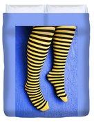 Two Legs Against Blue Wall Duvet Cover