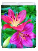 Two Lily Flowers Duvet Cover