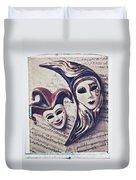 Two Masks On Sheet Music Duvet Cover