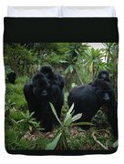 Two Mother Gorillas Carrying Duvet Cover