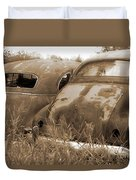 Two Old Rear Ends-sepia Duvet Cover