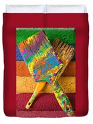 Two Paintbrushes On Paint Rollers Duvet Cover