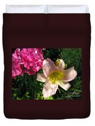 Two Pink Neighbors- Lily And Phlox Duvet Cover