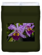 Two Pink Purple Orchids Duvet Cover