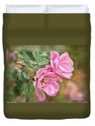 Two Pink Roses II Blank Greeting Card Duvet Cover