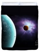 Two Planets Born From The Same Star Duvet Cover