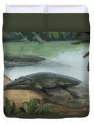 Two Prehistoric Platyoposaurus Duvet Cover