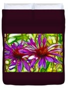 Two Purple Daisy's Fractal Duvet Cover