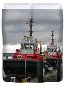 Two Red Tugs Duvet Cover