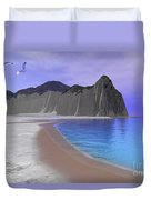 Two Seagulls Fly Over A Beautiful Ocean Duvet Cover by Corey Ford