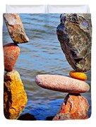 Two Stacks Of Balanced Rocks Duvet Cover
