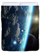 Two Survey Craft Orbit A Terrestrial Duvet Cover by Brian Christensen