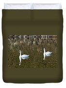Two Swan Floating On A Pond  Duvet Cover