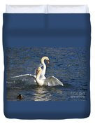 Two Swans Playing Duvet Cover