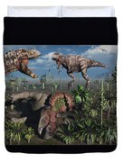 Two T. Rex Dinosaurs Confront Each Duvet Cover by Mark Stevenson
