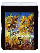 Two Trees In Fall Duvet Cover