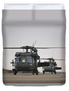 Two Uh-60 Black Hawks Taxi Duvet Cover by Terry Moore