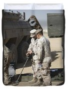 Two U.s. Marines Use A Mine Detector Duvet Cover