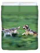Two Wolves Running Through Meadow Duvet Cover