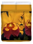 Two Yellow And Red Orchids Duvet Cover