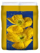 Two Yellow Iceland Poppies Duvet Cover