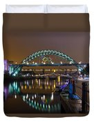 Tyne Bridge At Night Duvet Cover