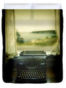Typewriter By Window Duvet Cover