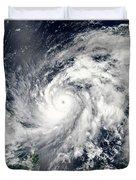 Typhoon Sanba Over The Pacific Ocean Duvet Cover