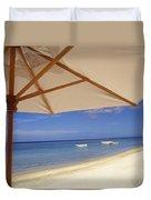 Umbrella And Tropical Beach, Close Up Duvet Cover