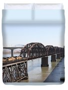 Union Pacific Locomotive Trains Riding Atop The Old Benicia-martinez Train Bridge . 5d18849 Duvet Cover