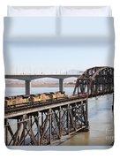 Union Pacific Locomotive Trains Riding Atop The Old Benicia-martinez Train Bridge . 5d18850 Duvet Cover