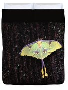 Unique Butterfly Resting On Tree Bark Duvet Cover