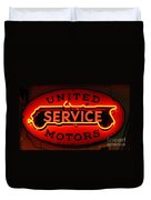 United Motors Service Neon Sign Duvet Cover
