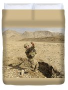 U.s. Air Force Soldier Throws A Frag Duvet Cover