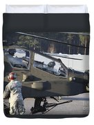 U.s. Army Ah-64d Apache Helicopter Duvet Cover