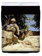 U.s. Army Soldier Climbs Down A Hill Duvet Cover