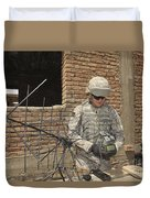 U.s. Army Soldier Configures Duvet Cover