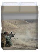 U.s. Army Soldier Fires A Barrett M82a1 Duvet Cover