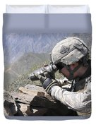 U.s. Army Soldier Monitors An Afghan Duvet Cover