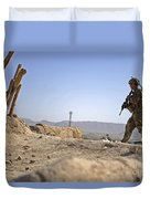 U.s. Army Soldier On A Foot Patrol Duvet Cover