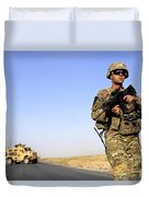 U.s. Army Soldier On Patrol Duvet Cover
