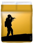 U.s. Army Soldier Secures An Area Duvet Cover