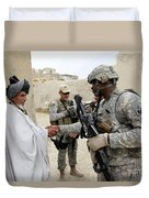 U.s. Army Soldier Shakes Hands With An Duvet Cover