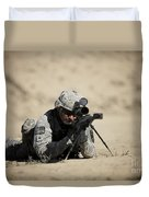 U.s. Army Soldier Sights In A Barrett Duvet Cover